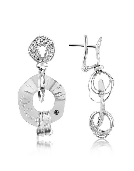 Orlando Orlandini Fashion - Boucles d'oreilles en or 750 blanc et diamants