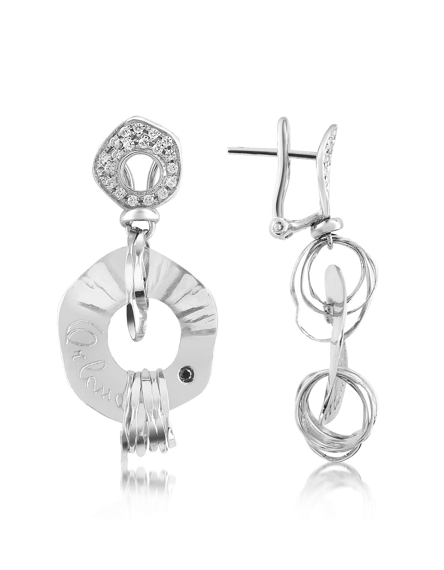 Orlando Orlandini Designer Earrings, Fashion - Diamond 18K White Gold Drop Earrings