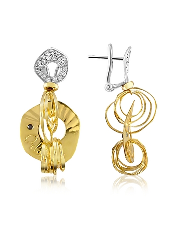 Orlando Orlandini - Fashion - Diamond 18K Two-tone Gold Drop Earrings