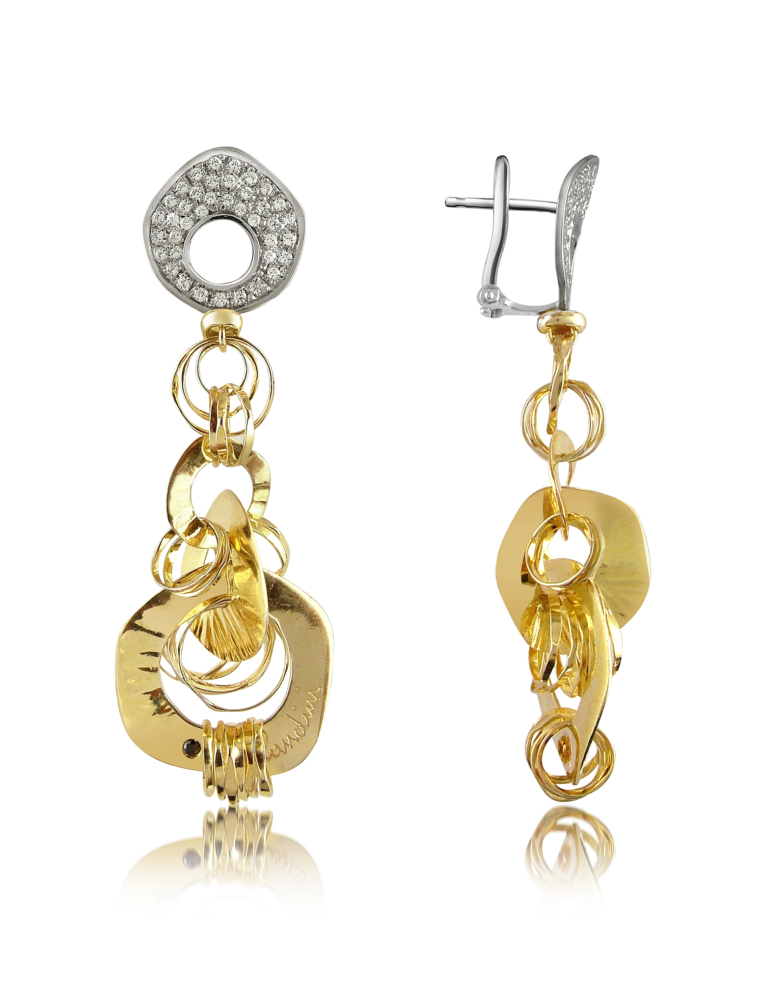 Orlando Orlandini Designer Earrings, Fashion - Diamond 18K Two-tone Gold Drop Earrings