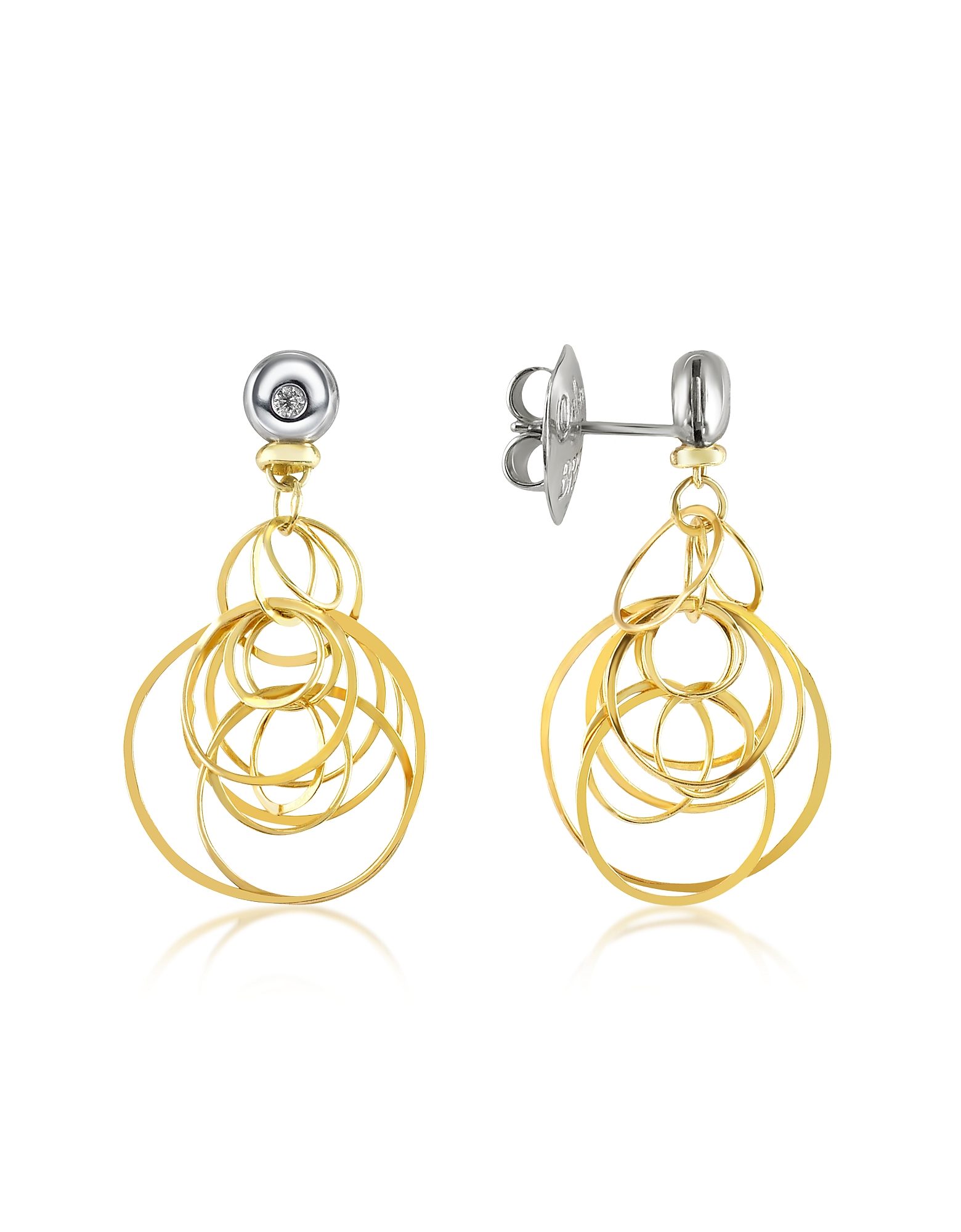 Orlando Orlandini Earrings, Scintille - Small Diamond 18K Gold Drop Earrings