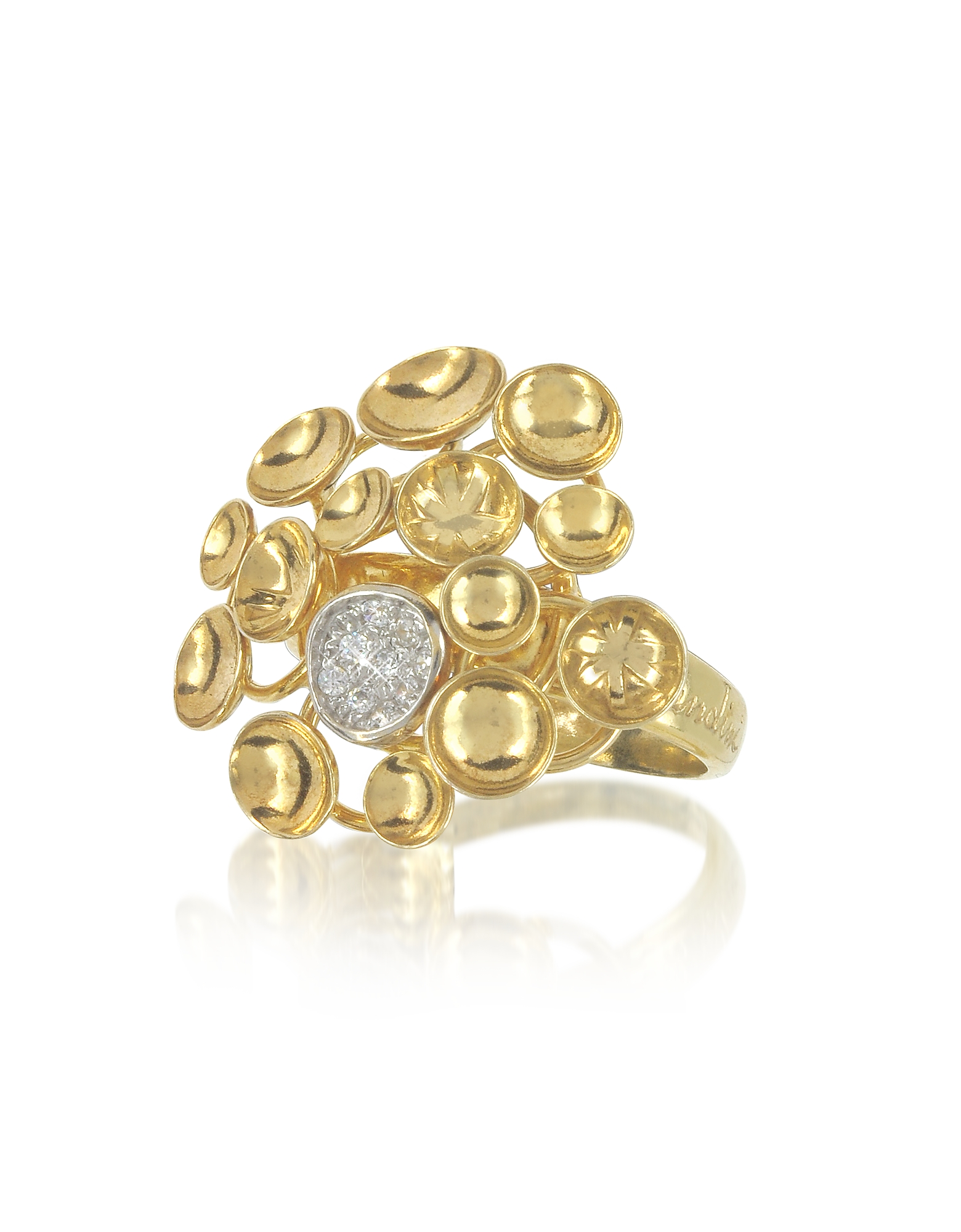 Orlando Orlandini Rings, 18K Yellow Gold Bouquet Ring w/Diamond