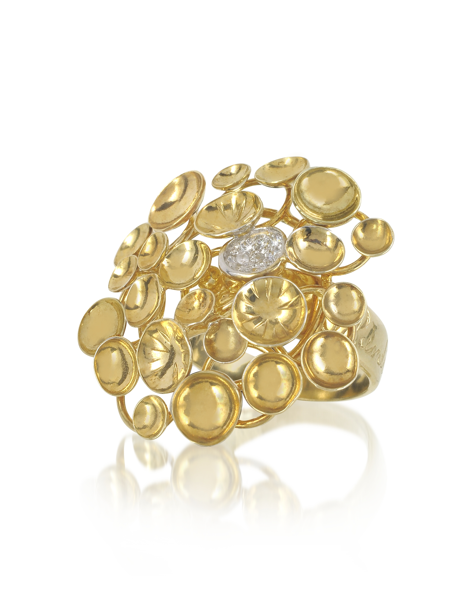 Orlando Orlandini Rings, 18K Yellow Gold Large Bouquet Ring w/Diamond