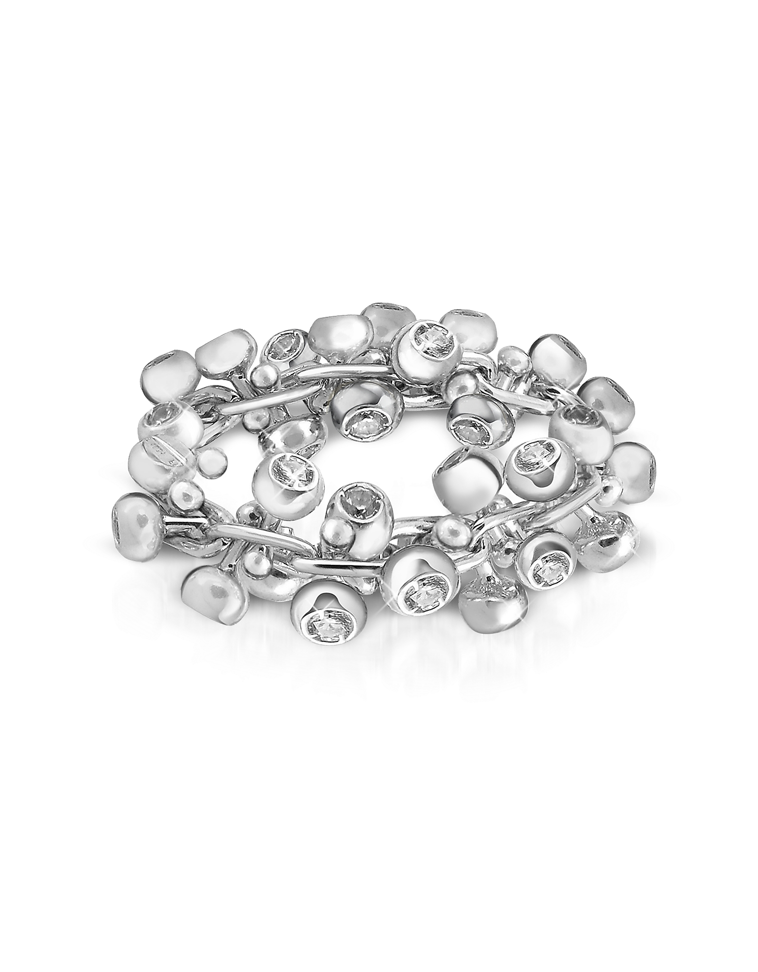 Orlando Orlandini Rings, Diamond Studs 18K White Gold Band Ring