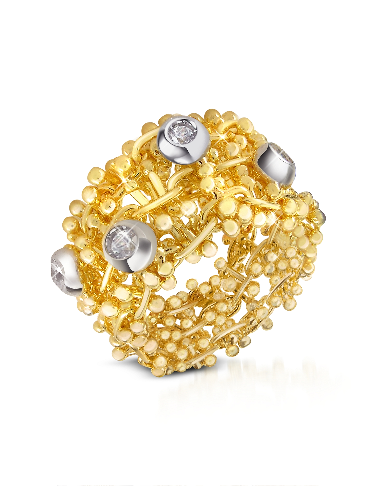 Orlando Orlandini Rings, Diamond 18K Yellow Gold Band Ring