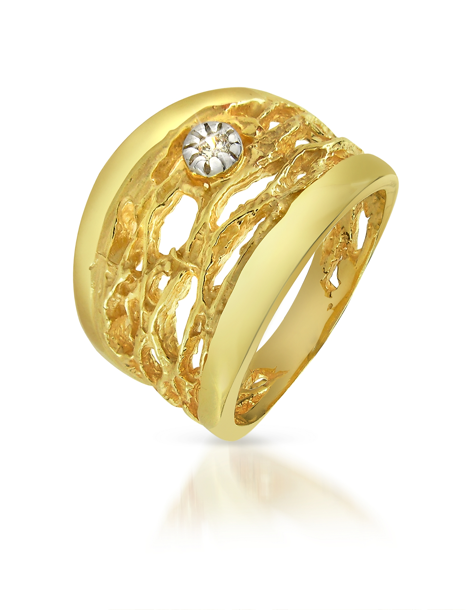 Фото Кольцо с Резным Узором из Желтого Золота 18 карат с Бриллиантом. Купить с доставкой