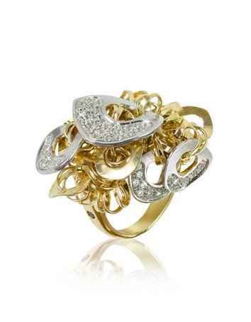 Fashion - Diamond 18K Gold Charm Ring Better Quality than Blue Nile Diamonds