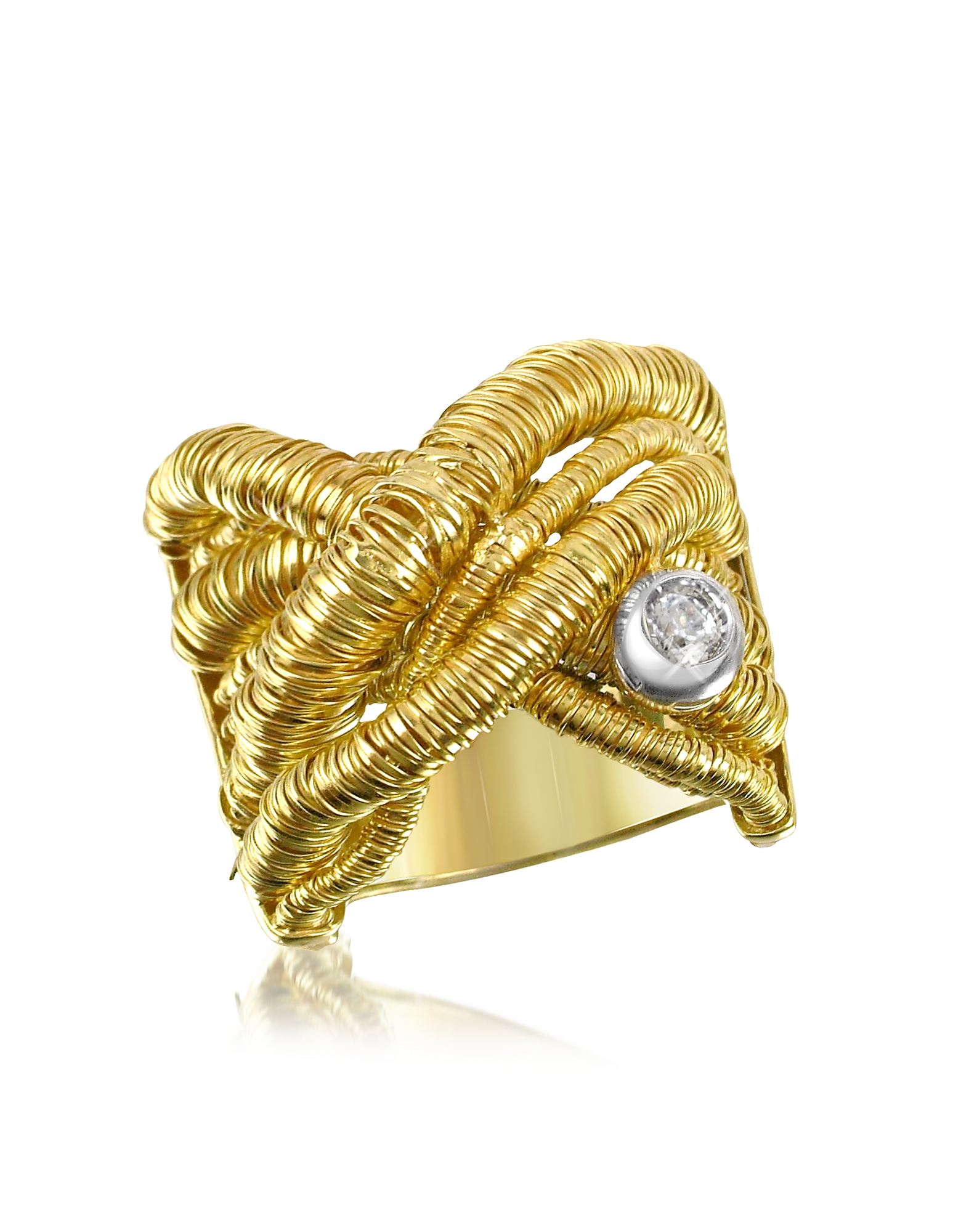 Orlando Orlandini Rings, Capriccio - Diamond 18K Yellow Gold Crossover Ring