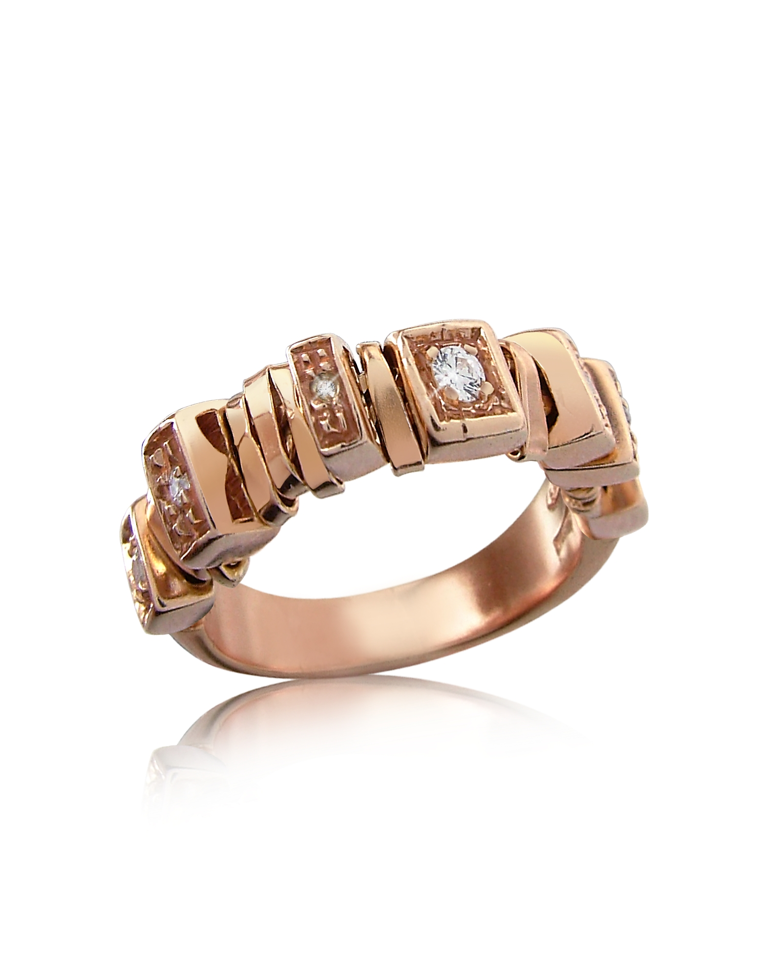 Orlando Orlandini Rings, Sole - Diamond 18K Rose Gold Band Ring