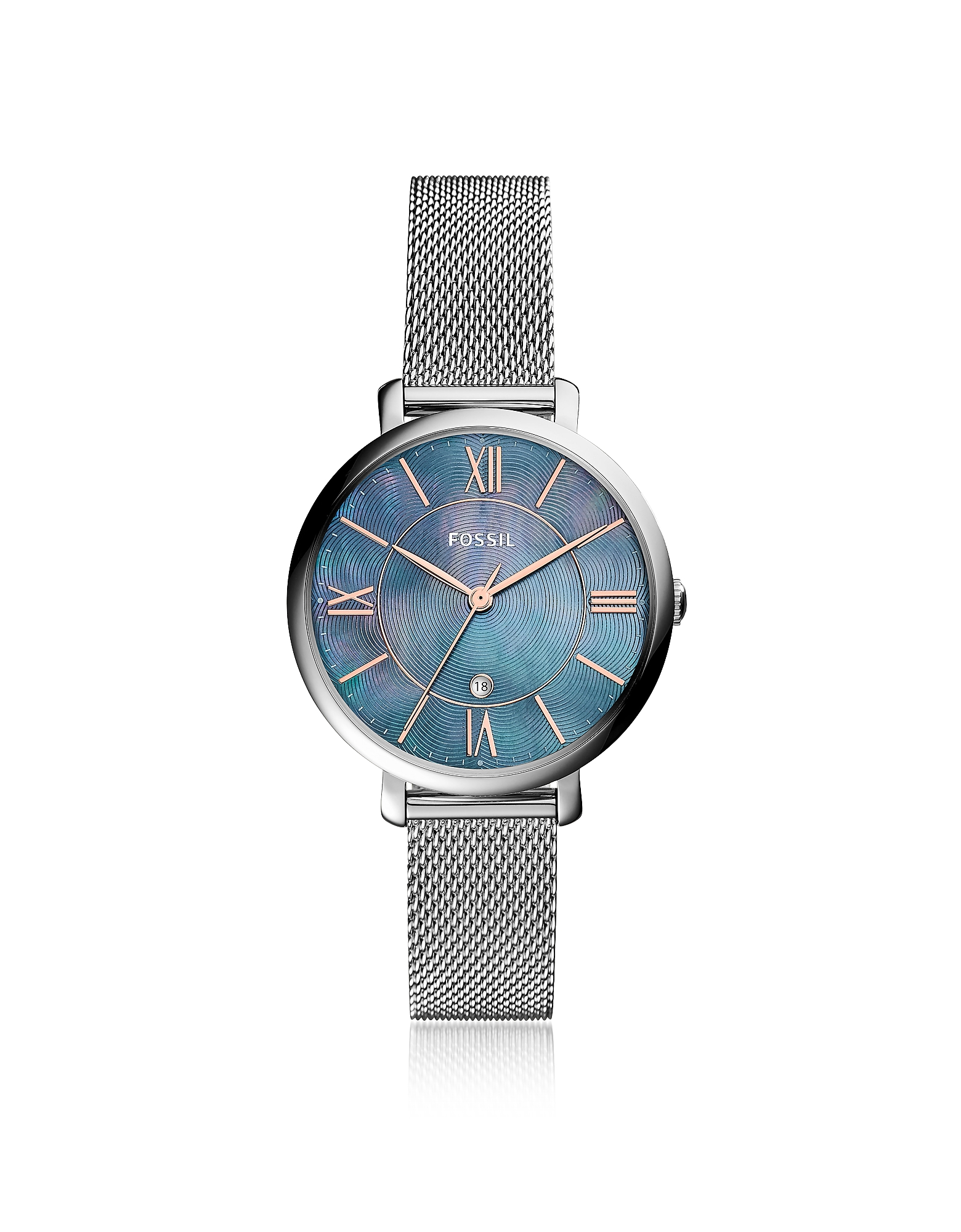 Fossil Women's Watches, Jacqueline Three Hand Date Mesh Stainless Steel Women's Watch