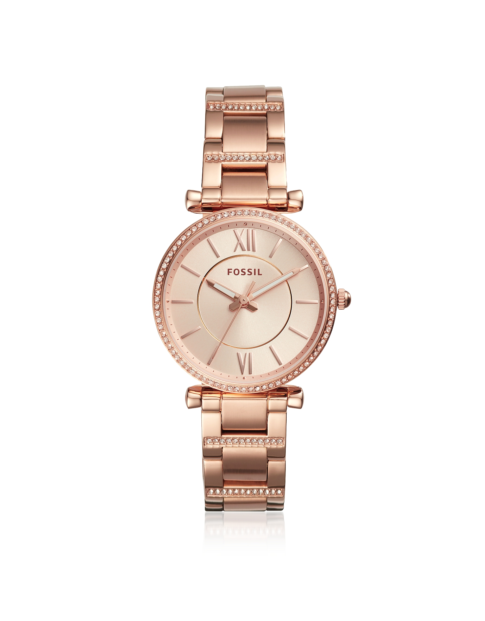 Fossil Women's Watches, Carlie Three-Hand Rose Gold-Tone Stainless Steel Watch