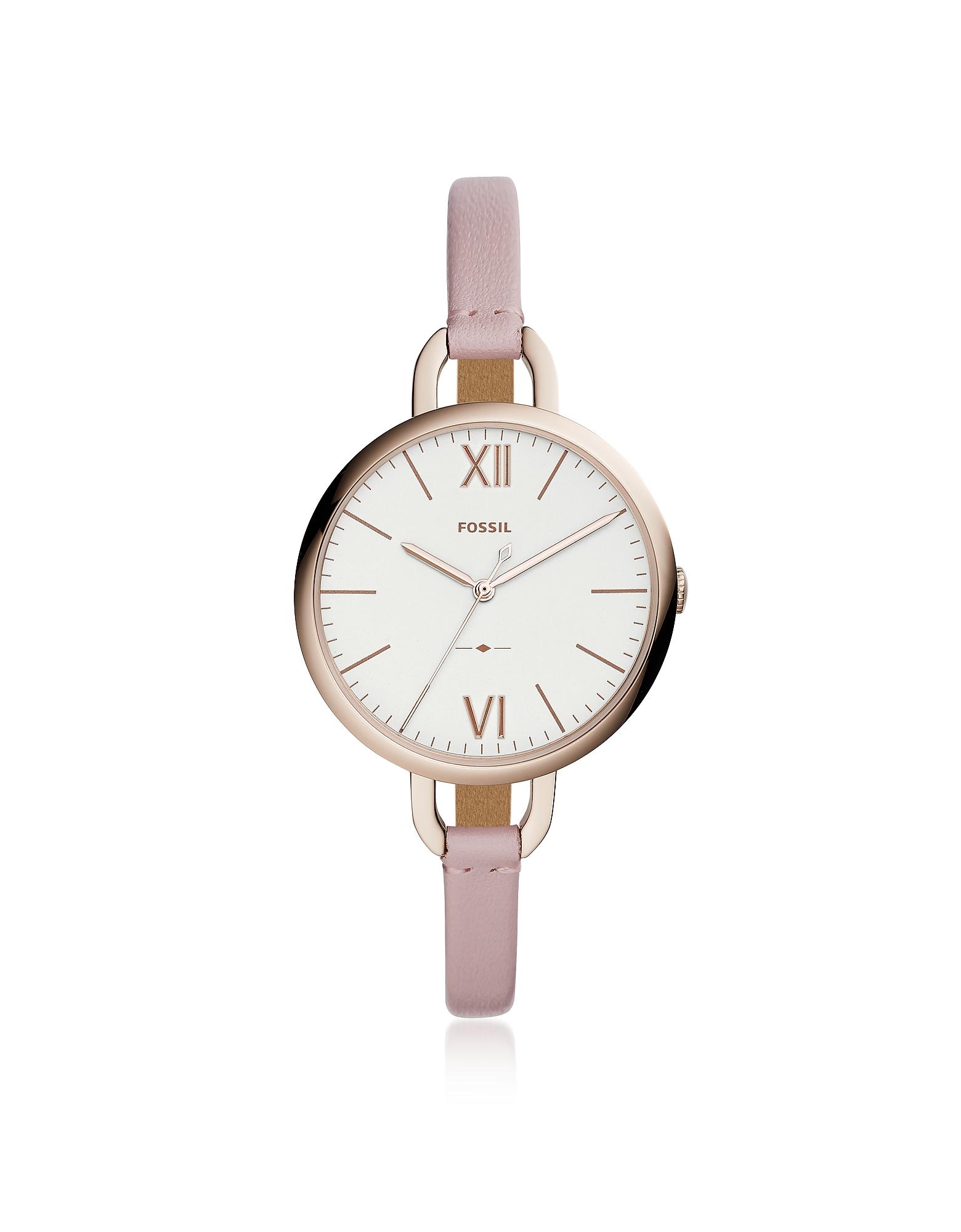 Трехстрелочные Часы Annette на Светло-розовом Кожаном Ремешке Fossil