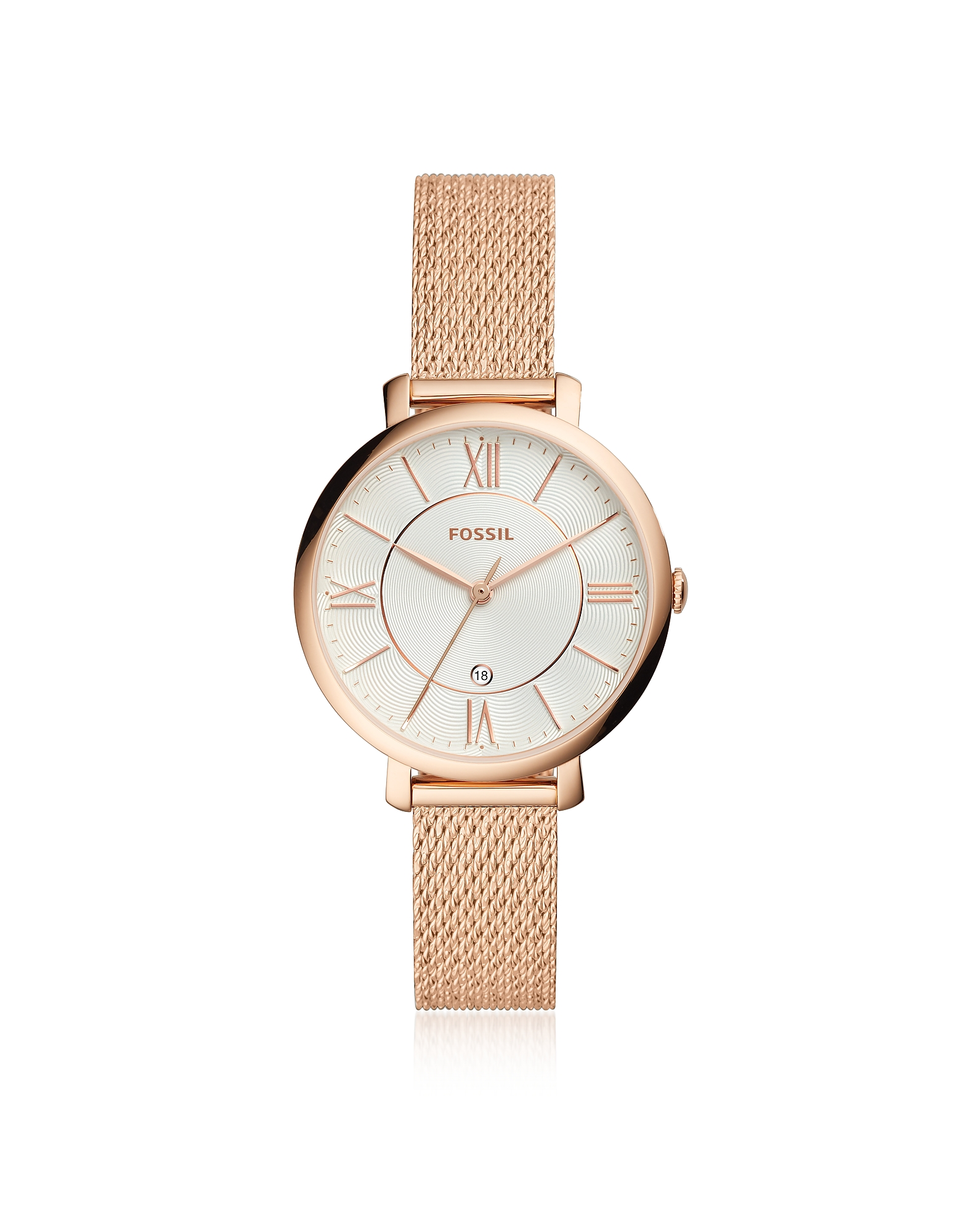 Jacqueline Three Hand Date Rose Mesh Stainless Steel Women's Watch, Rose gold