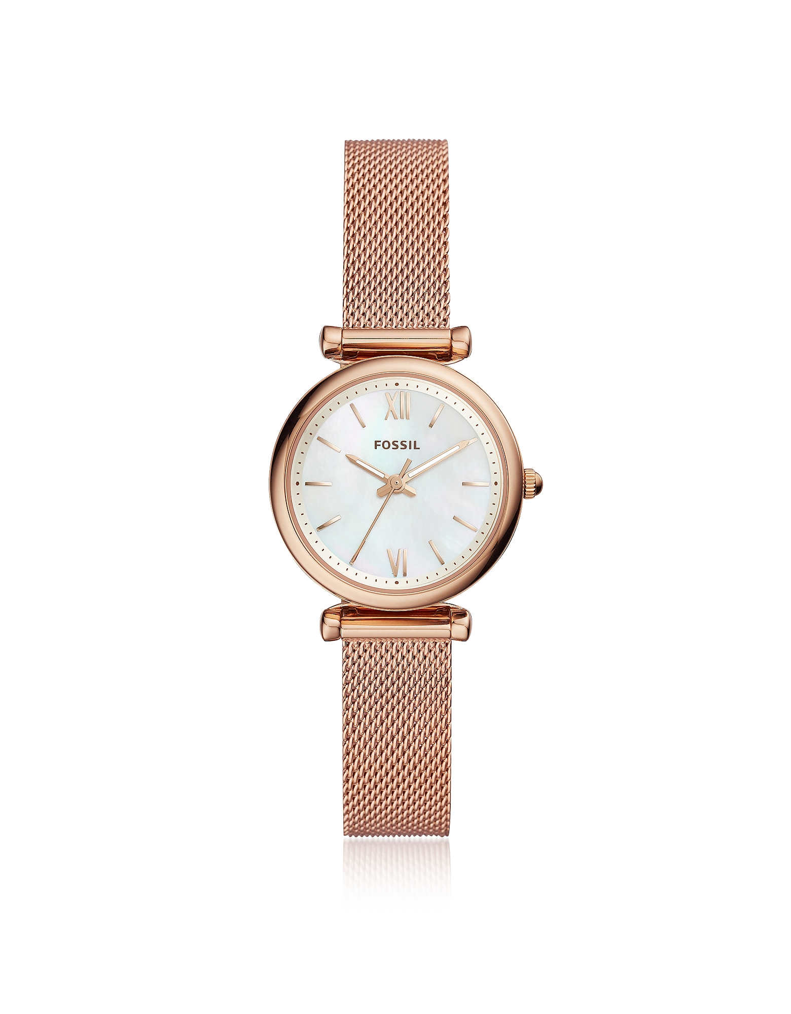 Carlie Mini Three Hand Rose Gold Tone Mesh Women's Watch