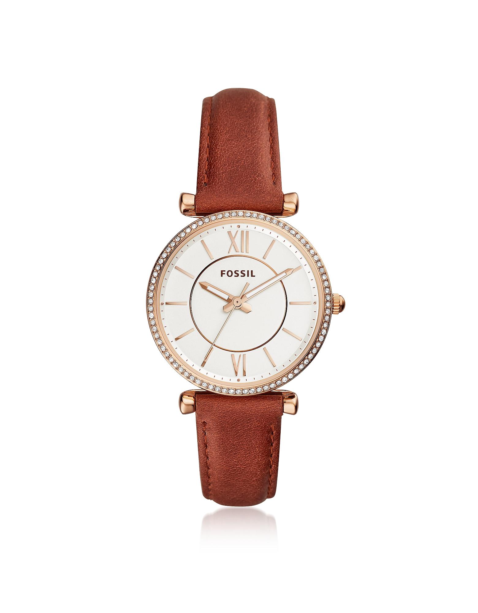Carlie Three Hand Terracotta Leather Women's Watch