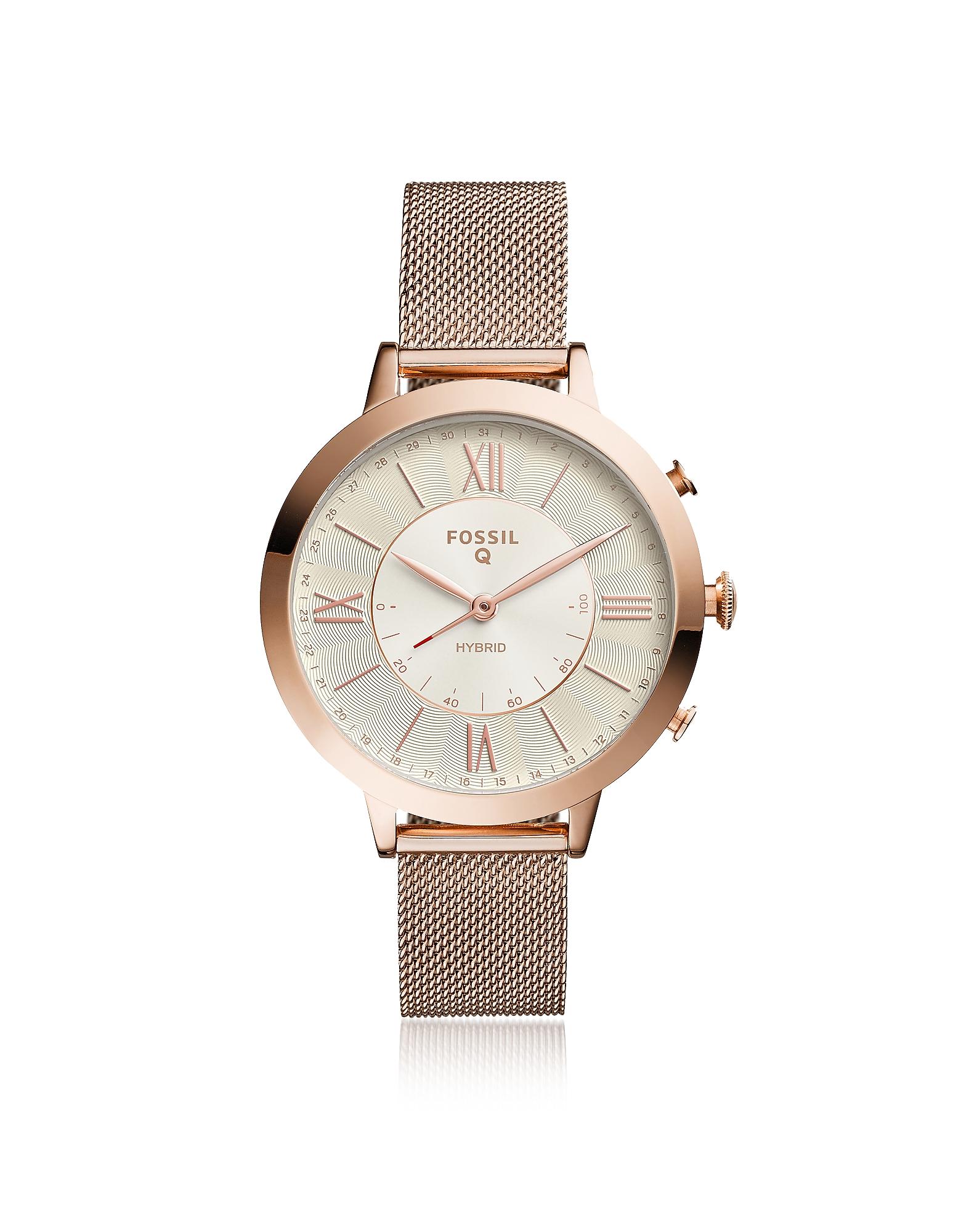 Q Jacqueline Rose Tone Mesh Hybrid Smartwatch