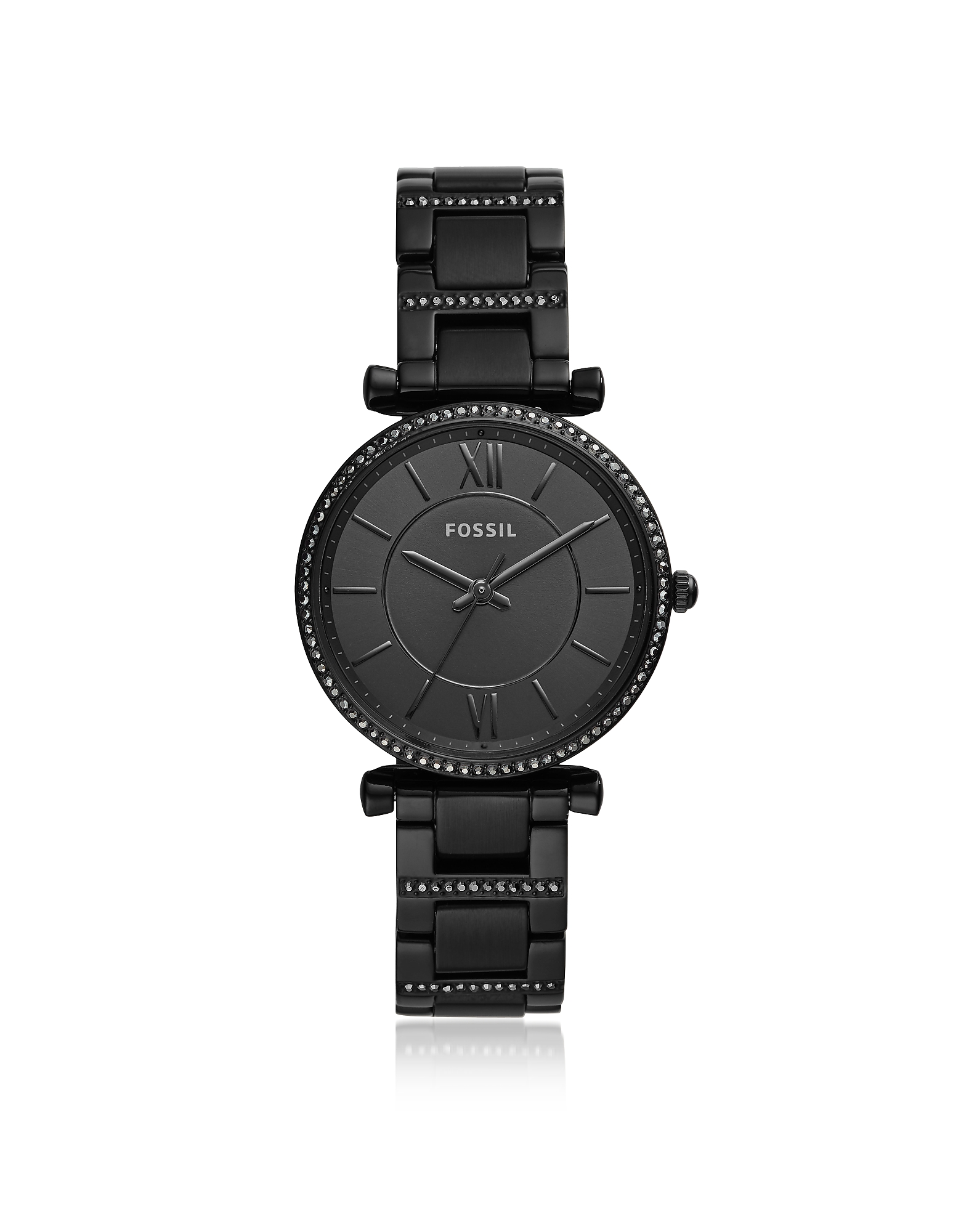 Fossil  Women's Watches Carlie Three-Hand Black Stainless Steel Watch