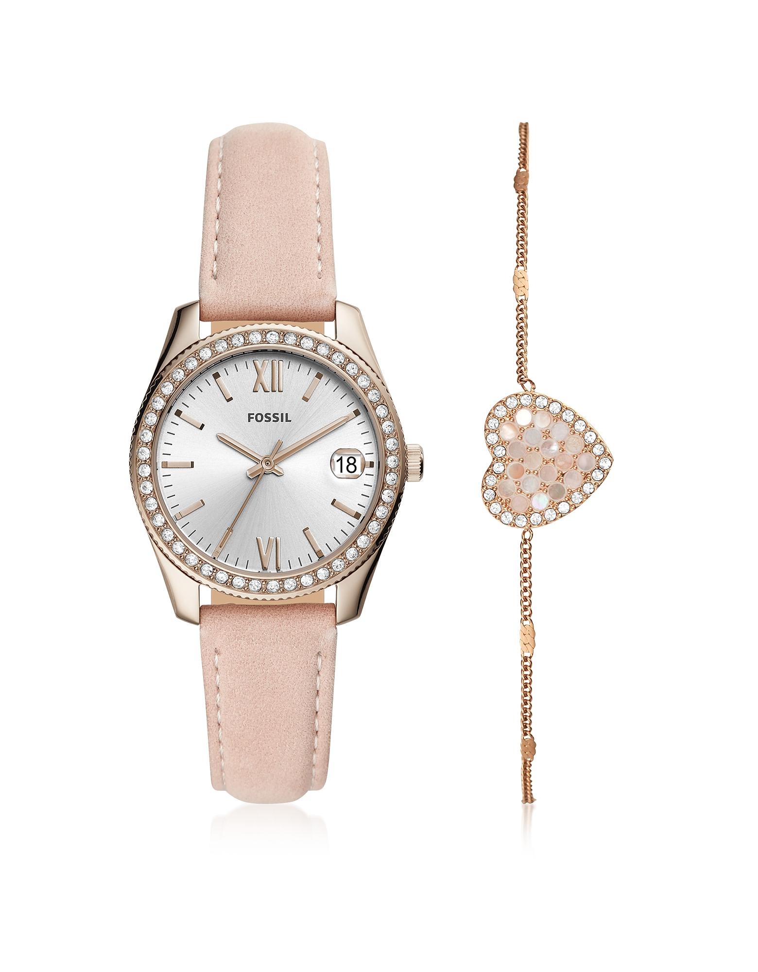 Scarlette Mini Three-Hand Date Blush Leather Watch Set