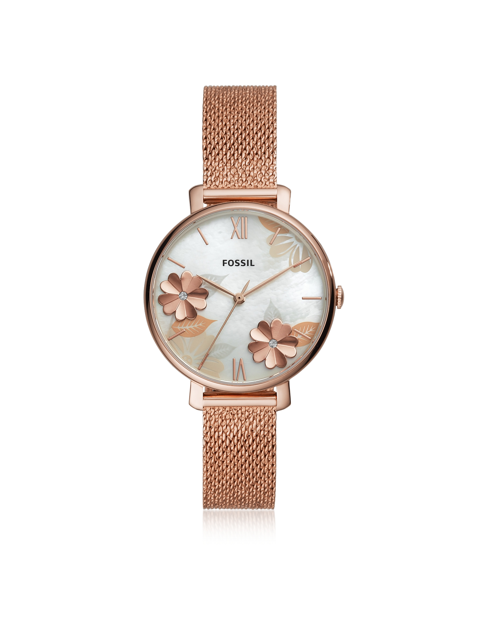 Jacqueline Three Hand Floral Rose Tone Mesh Watch