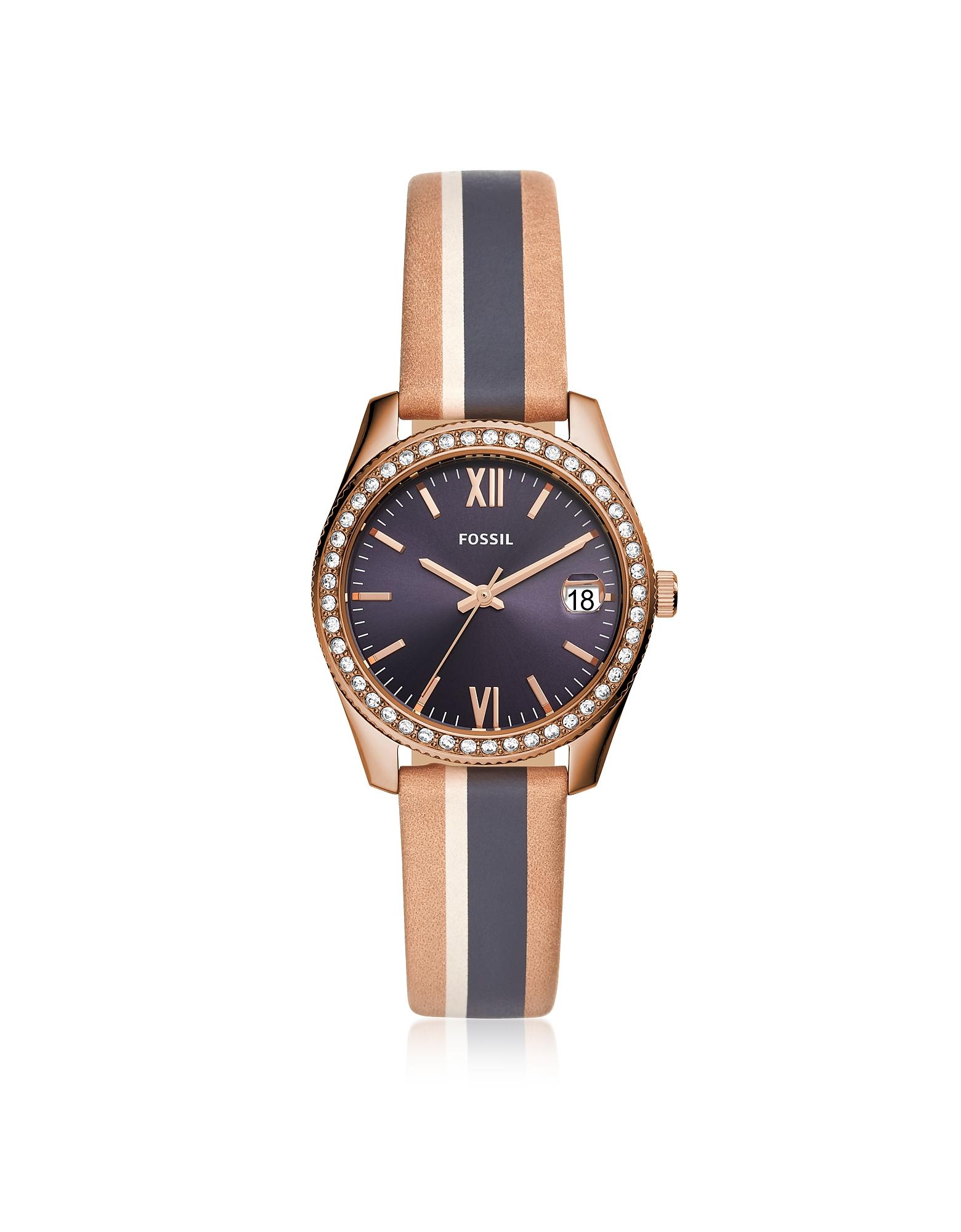 Scarlette Mini Three-Hand Date Sand Stripe Leather Watch