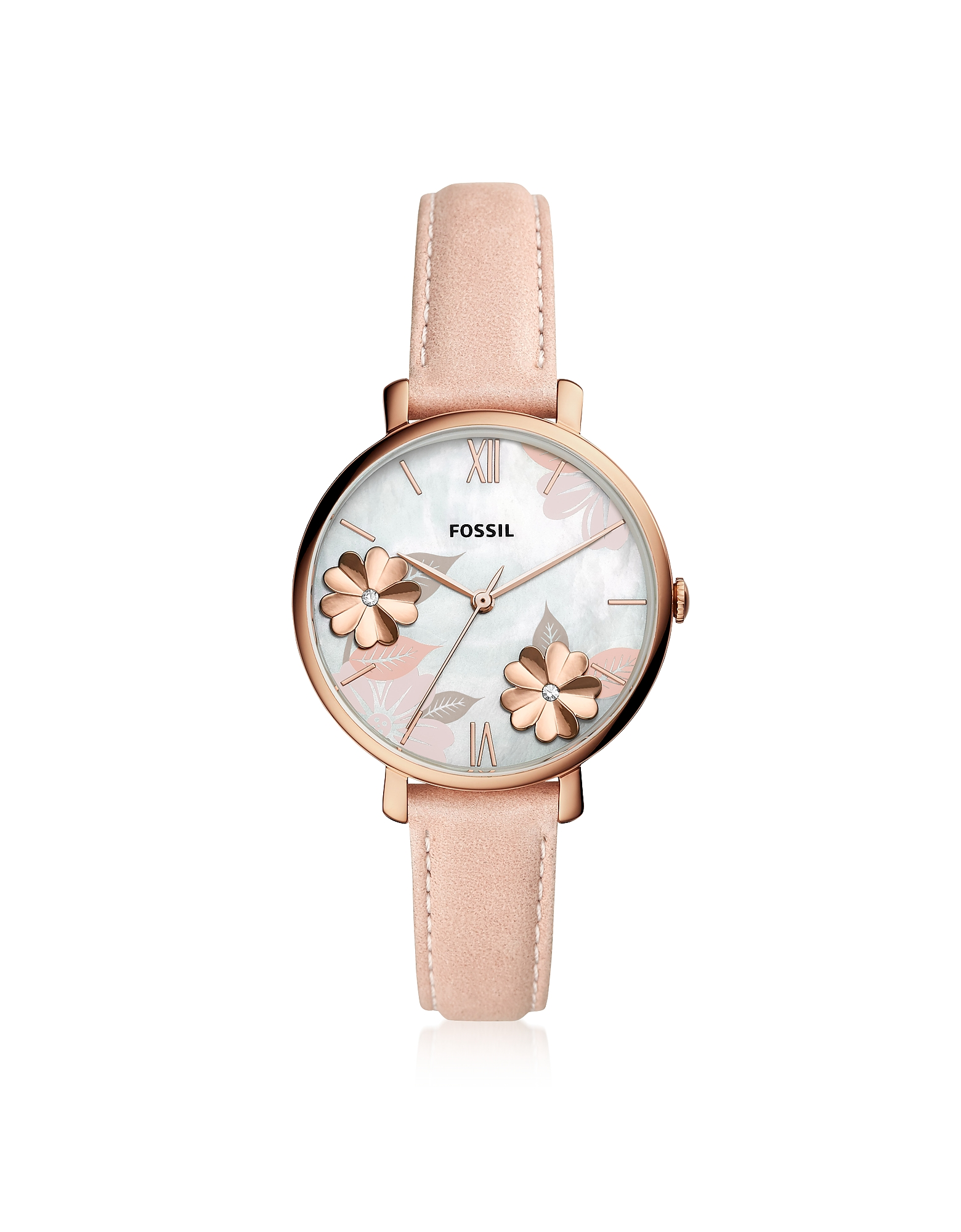 Jacqueline Three Hand Floral Blush Leather Watch