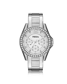 Riley Multifunction Silver Stainless Steel Women's Watch  - Fossil