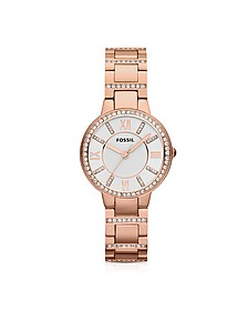 Virginia Three Hand Rose Golden Stainless Steel Women's Watch  - Fossil