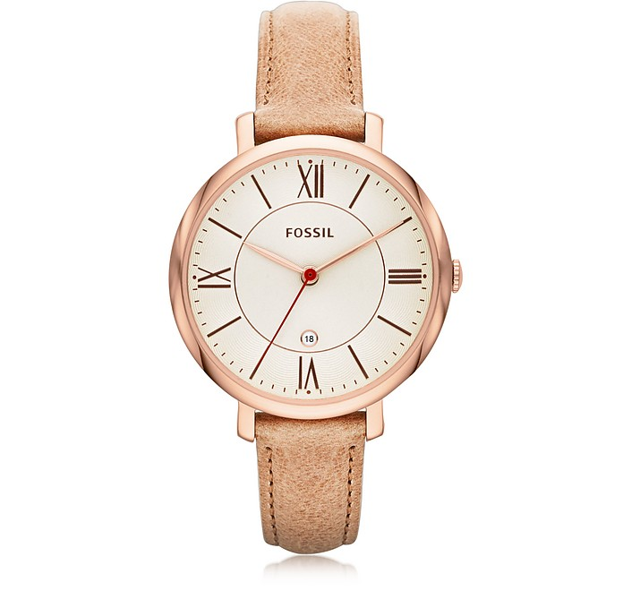 Jacqueline Sand Leather Women's Watch - Fossil