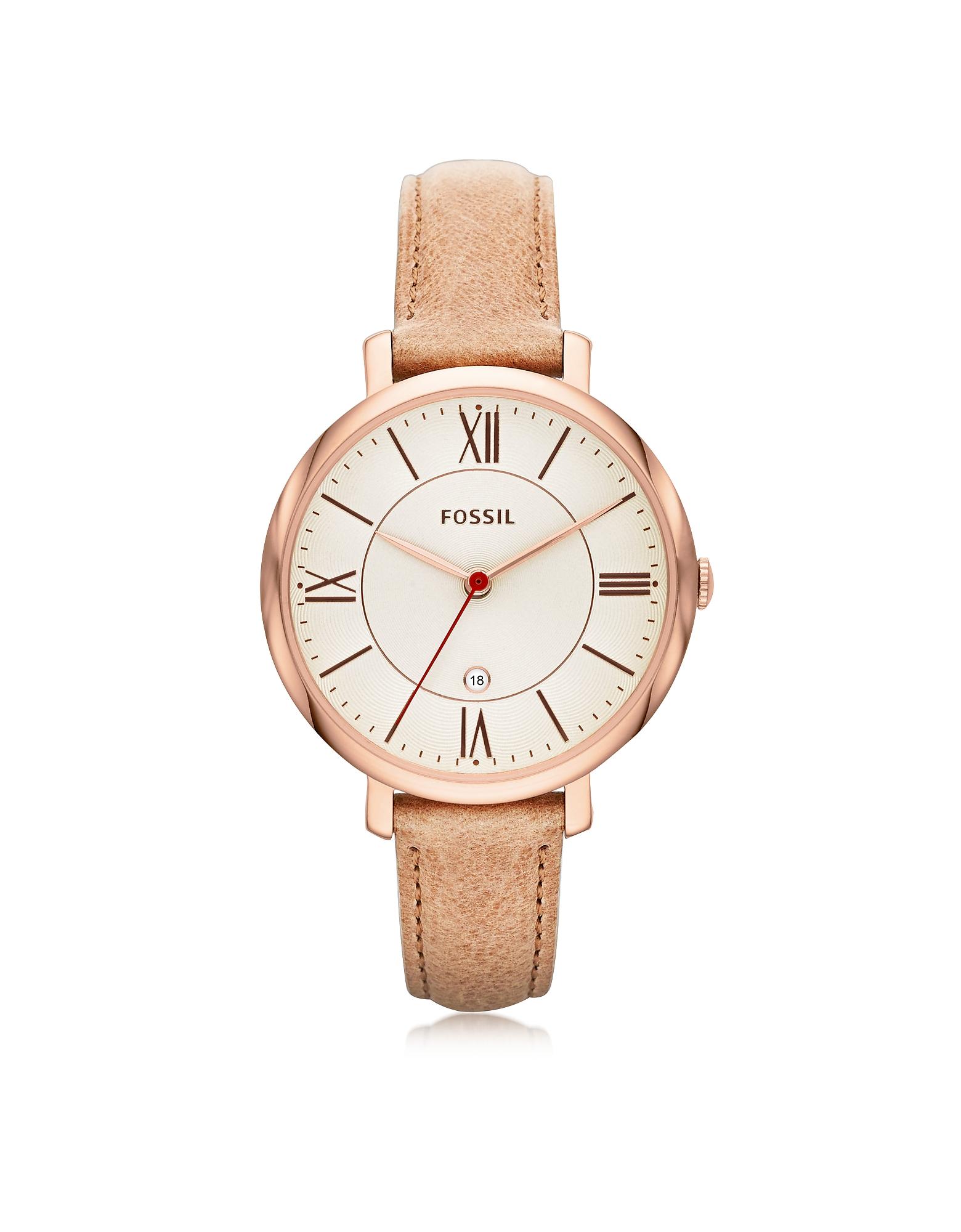 Jacqueline - Женские Часы с Кожаным Ремешком Песочного Цвета