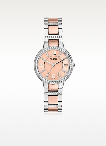 Virginia Two Tone Stainless Steel Women's Watch w/Crystals - Fossil