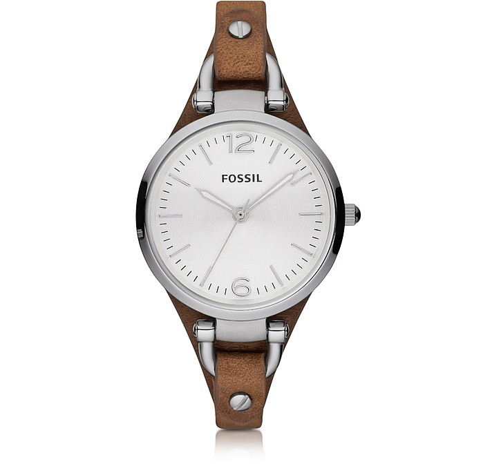 Georgia Riley Silver Tone Stainless Steel Case and Brown Leather Strap Women's Watch - Fossil