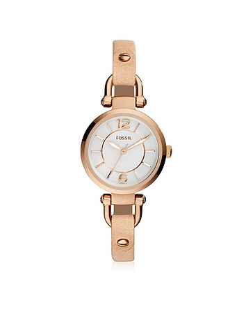 Fossil - Georgia Mini Rose Gold Tone Stainless Steel Case and Nude Leather Strap Women's Watch