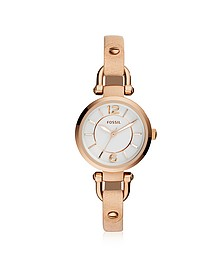 Georgia Mini Rose Gold Tone Stainless Steel Case and Nude Leather Strap Women's Watch - Fossil