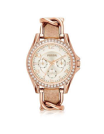 Fossil - Riley Rose Gold Tone Stainless Steel Case and Nude Leather Strap Women's Watch