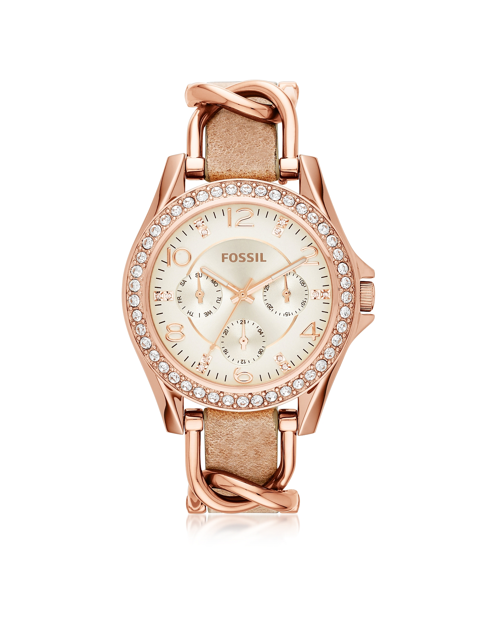 Fossil  Women's Watches Riley Rose Gold Tone Stainless Steel Case and Leather Strap Women's Watch