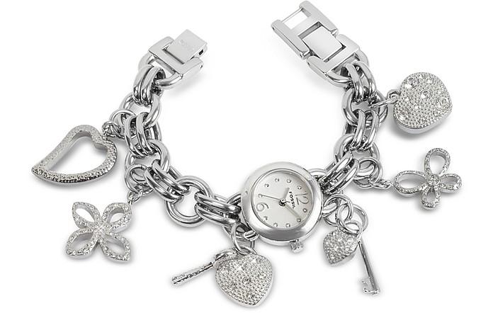 Crystal Bezel Charm Bracelet Watch  - Fossil