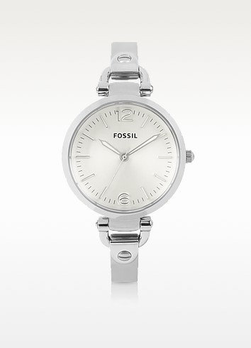 Georgia Three Hand Stainless Steel Watch  - Fossil