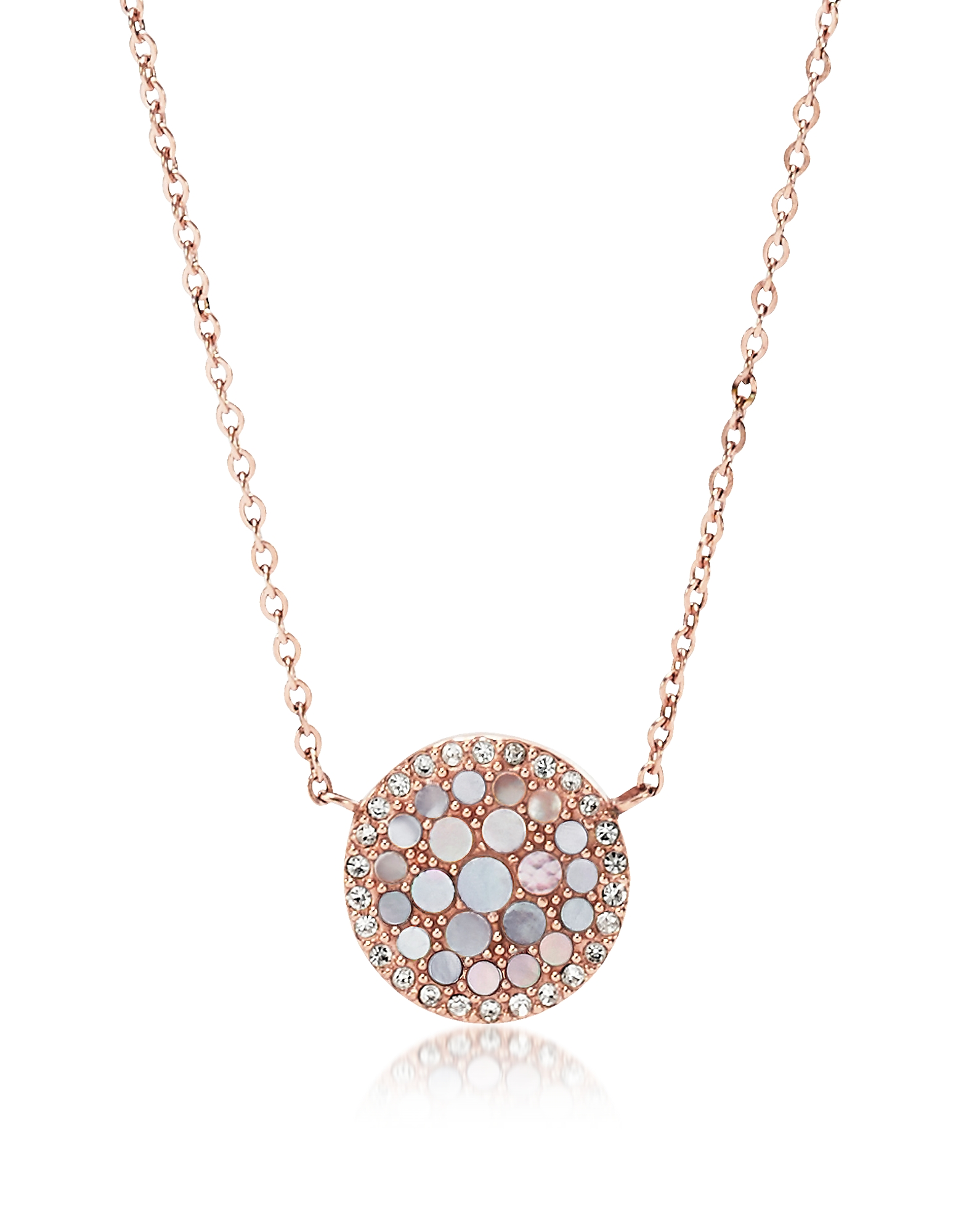 Pearl Disc Pendant Women's Necklace, Rose gold