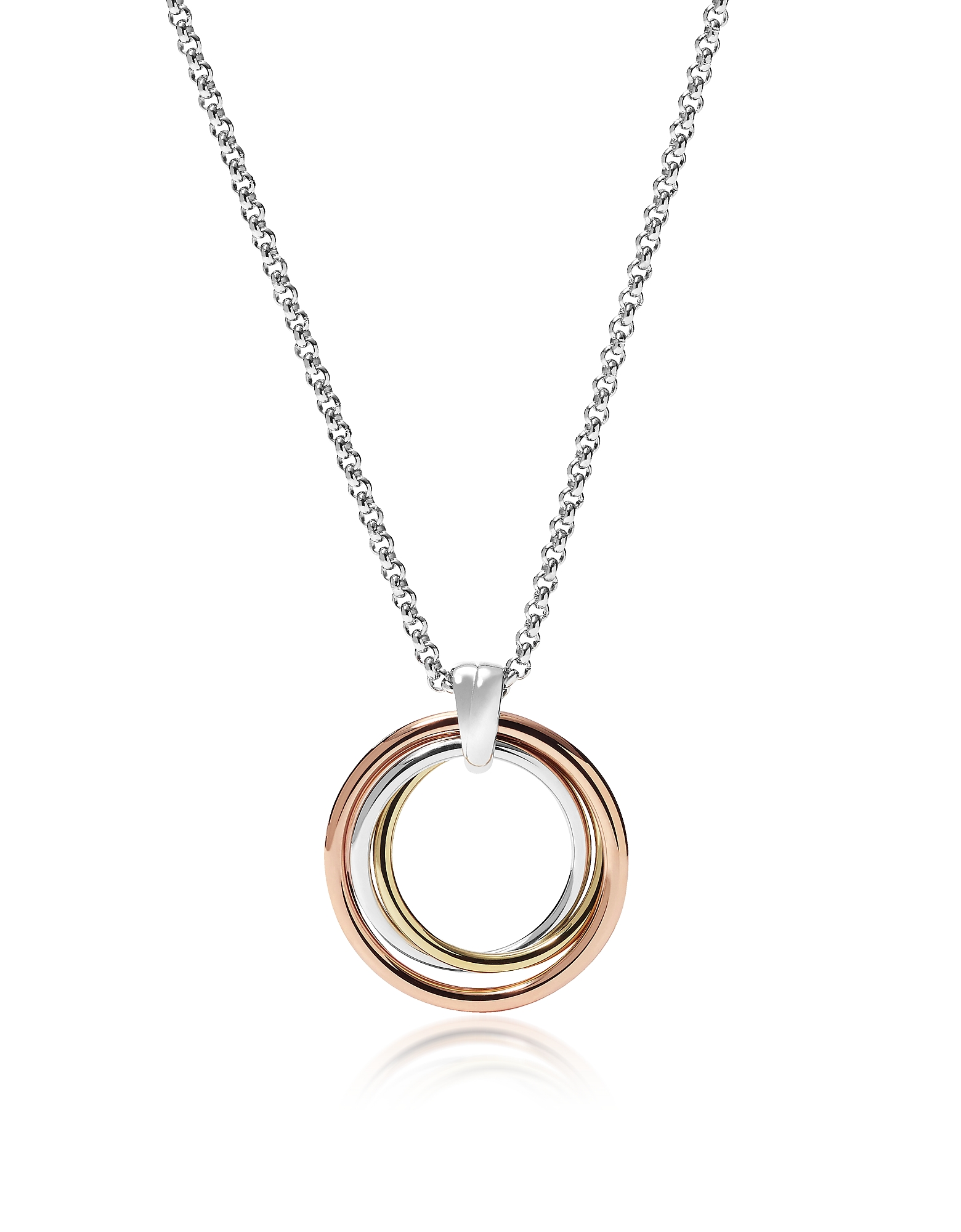 Fossil Necklaces, Tri-Tone Circle Women's Necklace