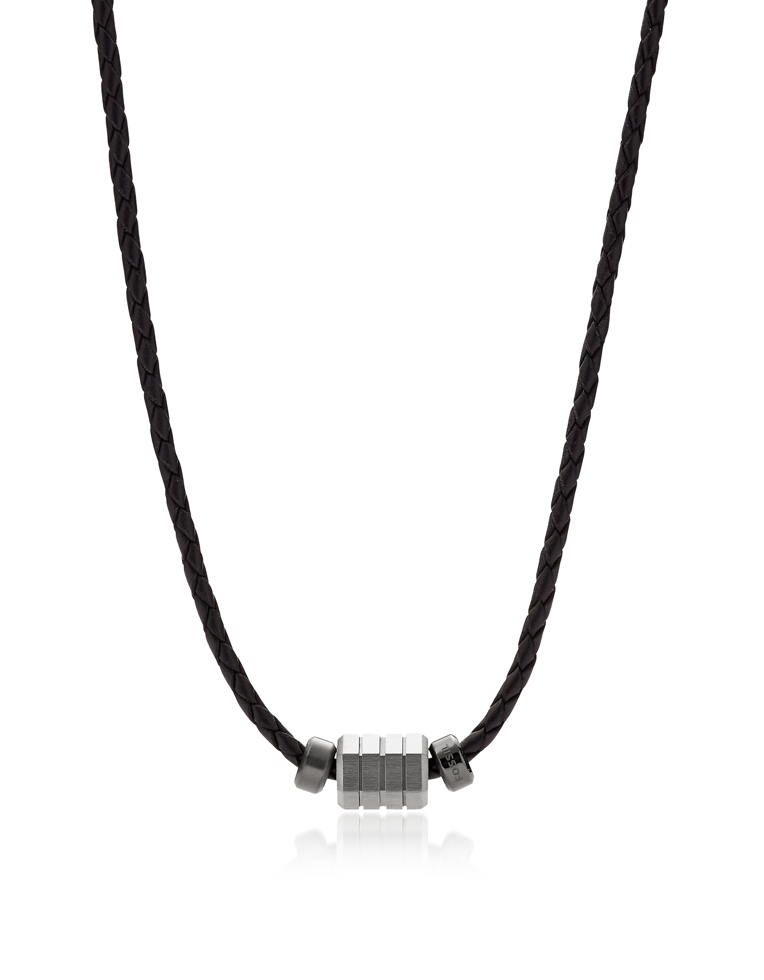 Black Leather Bead Men's Necklace