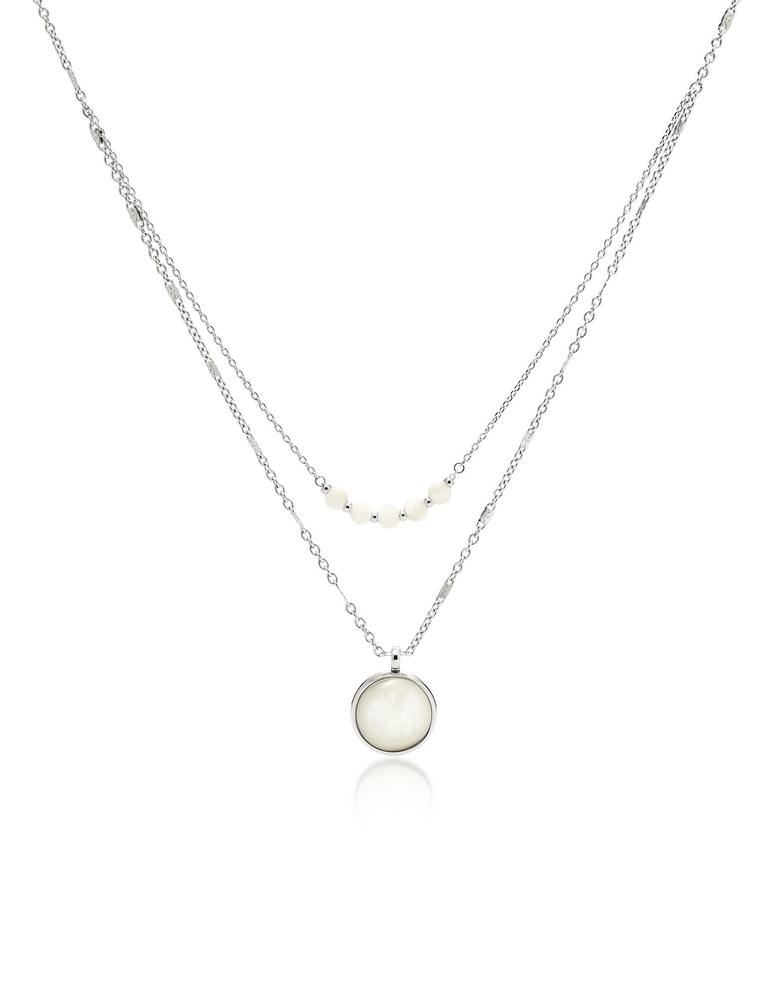 Fossil Necklaces, Double Mother of Pearl Disc Pendant Women's Necklace
