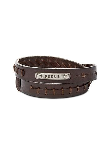 Brown Leather Wrap Vintage Casual Men's Bracelet