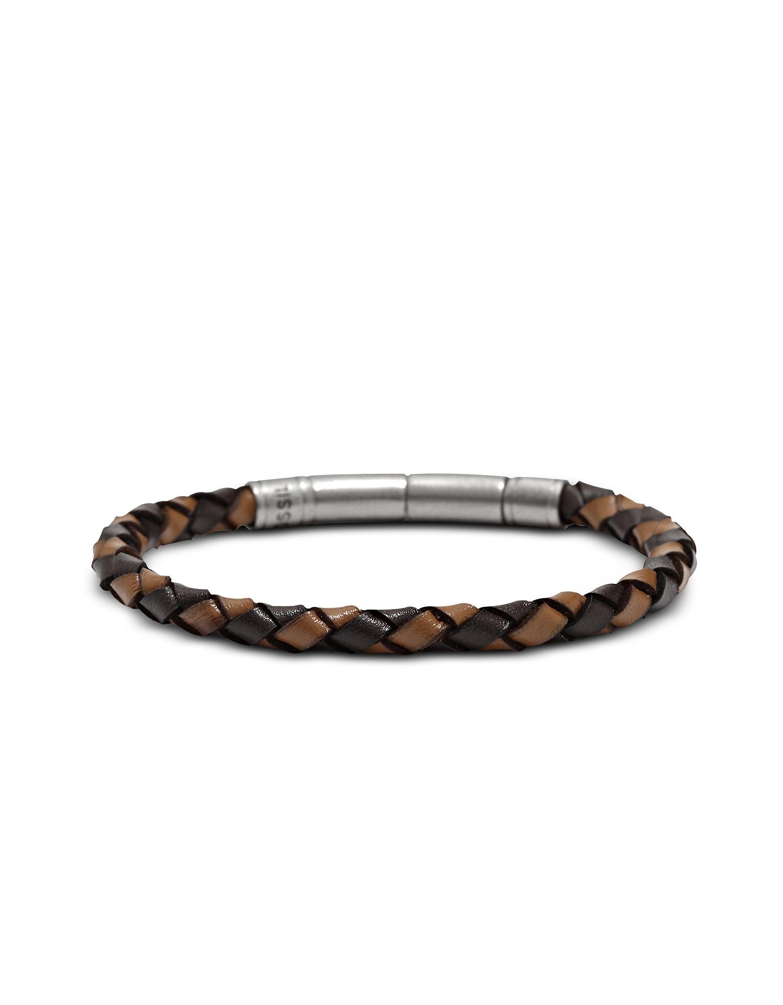Fossil Designer Men's Bracelets, Brown Braided Men's Bracelet