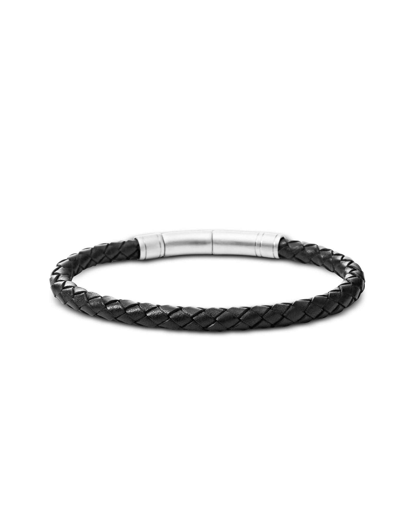 Black Skinny Braid Men's Bracelet