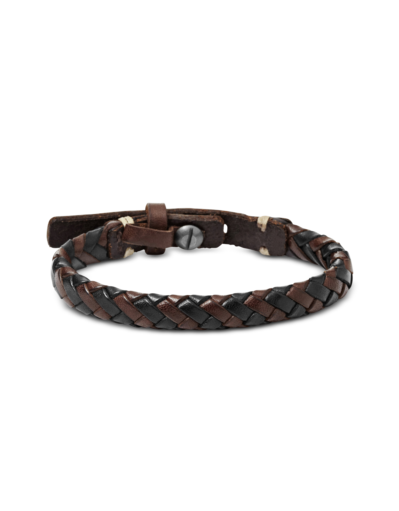 Image of Black and Brown Braided Men's Bracelet