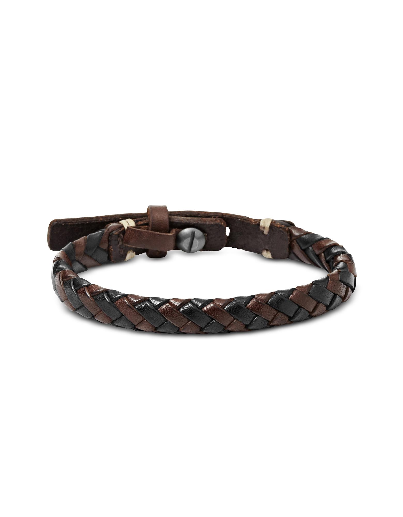 Black and Brown Braided Men's Bracelet