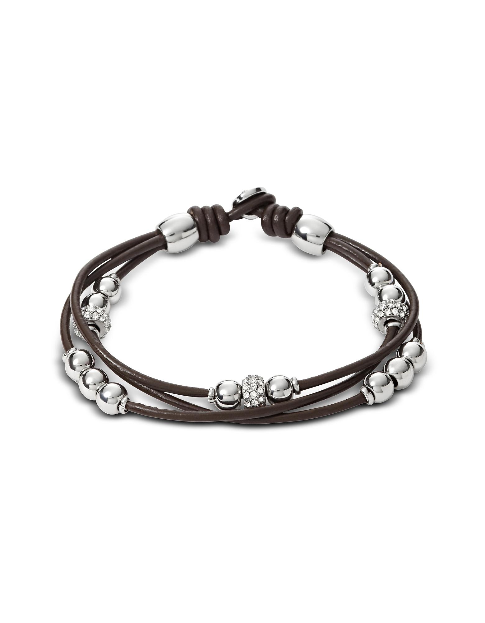 Fossil Bracelets, Chocolate Rondel Wrist Wrap Women's Bracelet