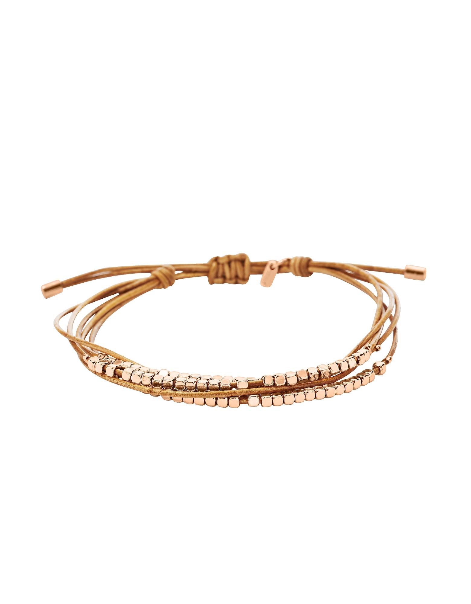 Fossil Designer Bracelets, Rose Gold Dainty Rondel Slider Women's Bracelet