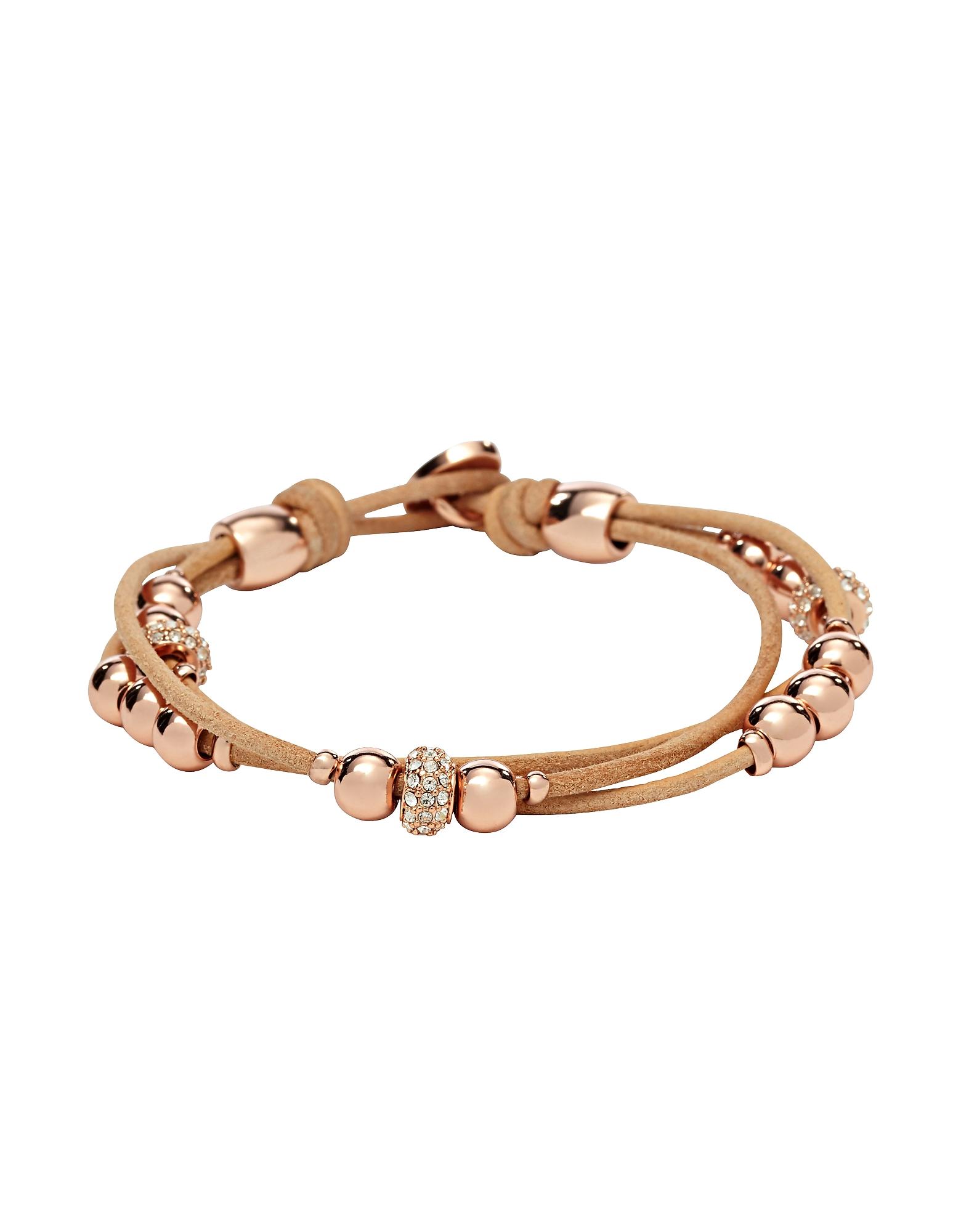 Fossil Designer Bracelets, Tan Rondel Women's Wrist Wrap