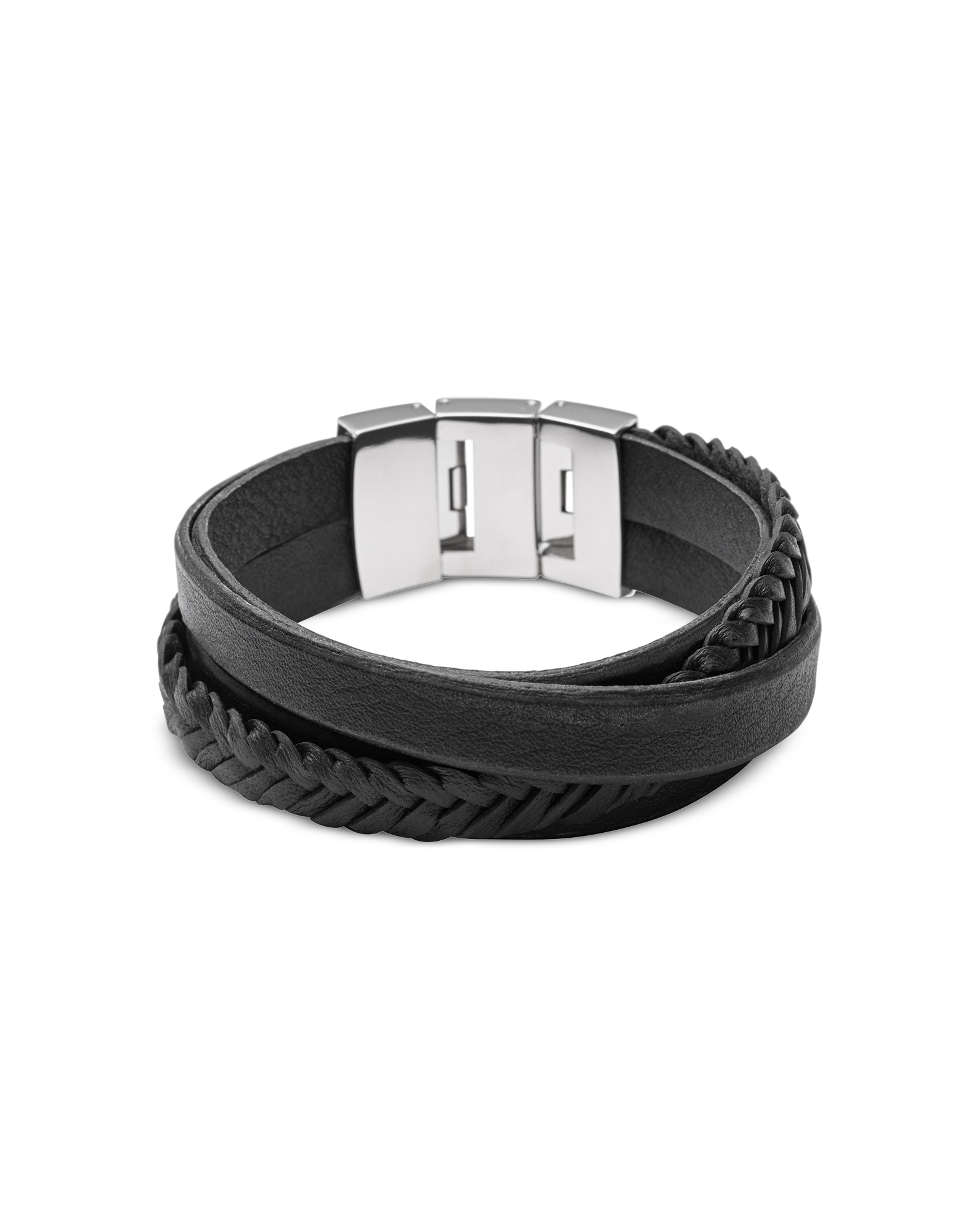 Image of Black Braided and Smooth Leather Men's Wrap Bracelet